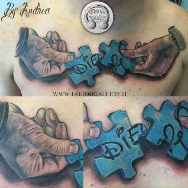 tattoo mani realistiche con puzzle