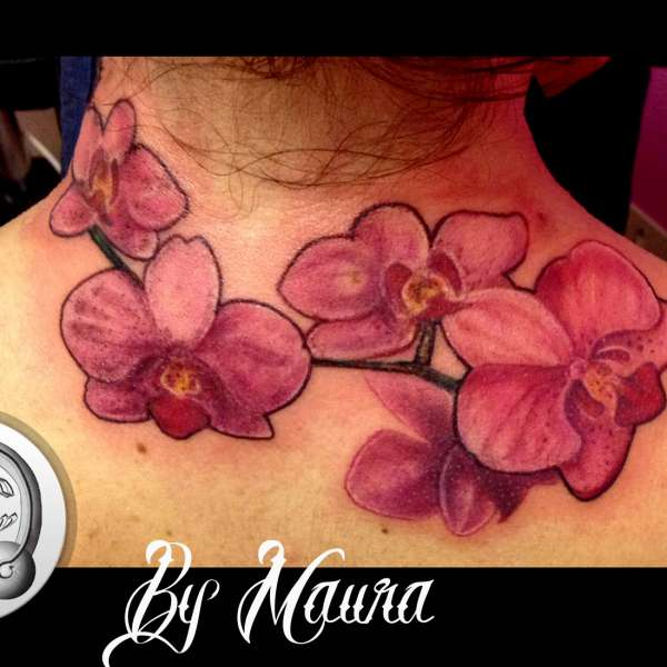 tattoo new school orchidee rosa