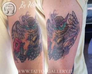 """alt="""" news school tattoo owl"""""""