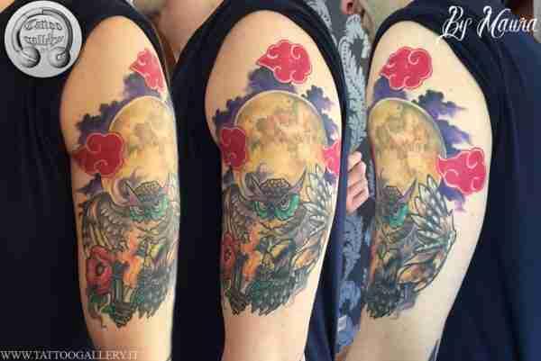 "alt="" news school tattoo moon with owl"""