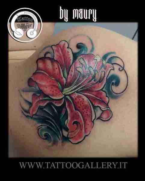 """alt=""""tatuaggi new school lily flower"""""""