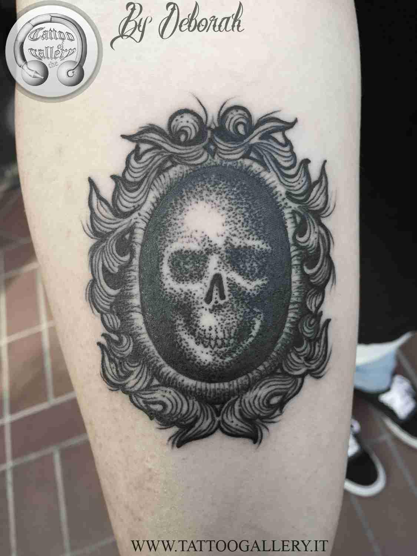 "alt=""blackwork skull in baroque frame by Deborah"""