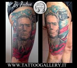 """alt=""""tatuaggi ritrattistici clint eastwood by andrea"""""""
