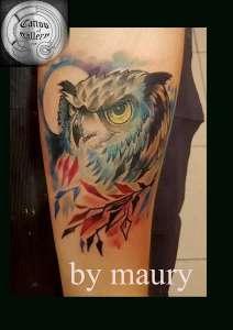 "alt=""gufo watercolor tattoo"""