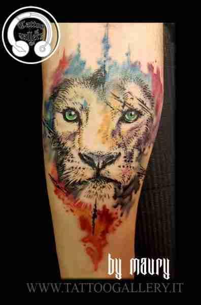 "alt=""tattoo leone watercolor"""