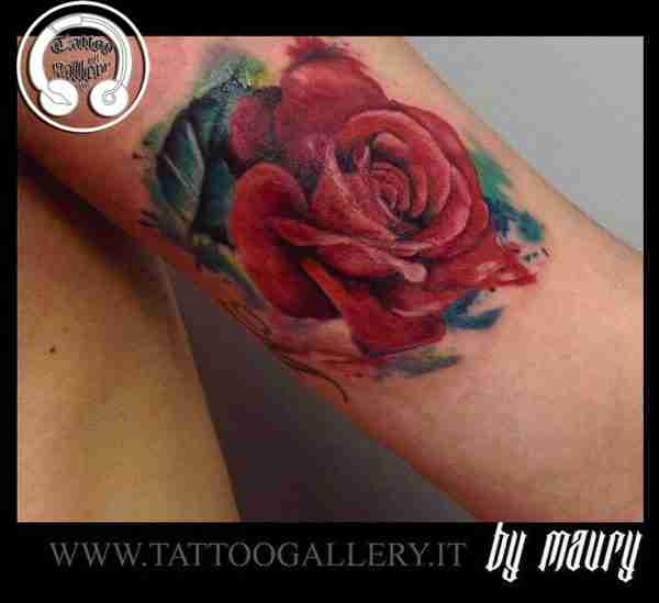 """alt=""""watercolor tattoo red rose"""""""