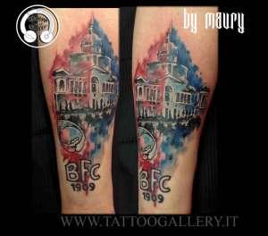 "alt=""San Luca Bologna tattoo watercolor"""