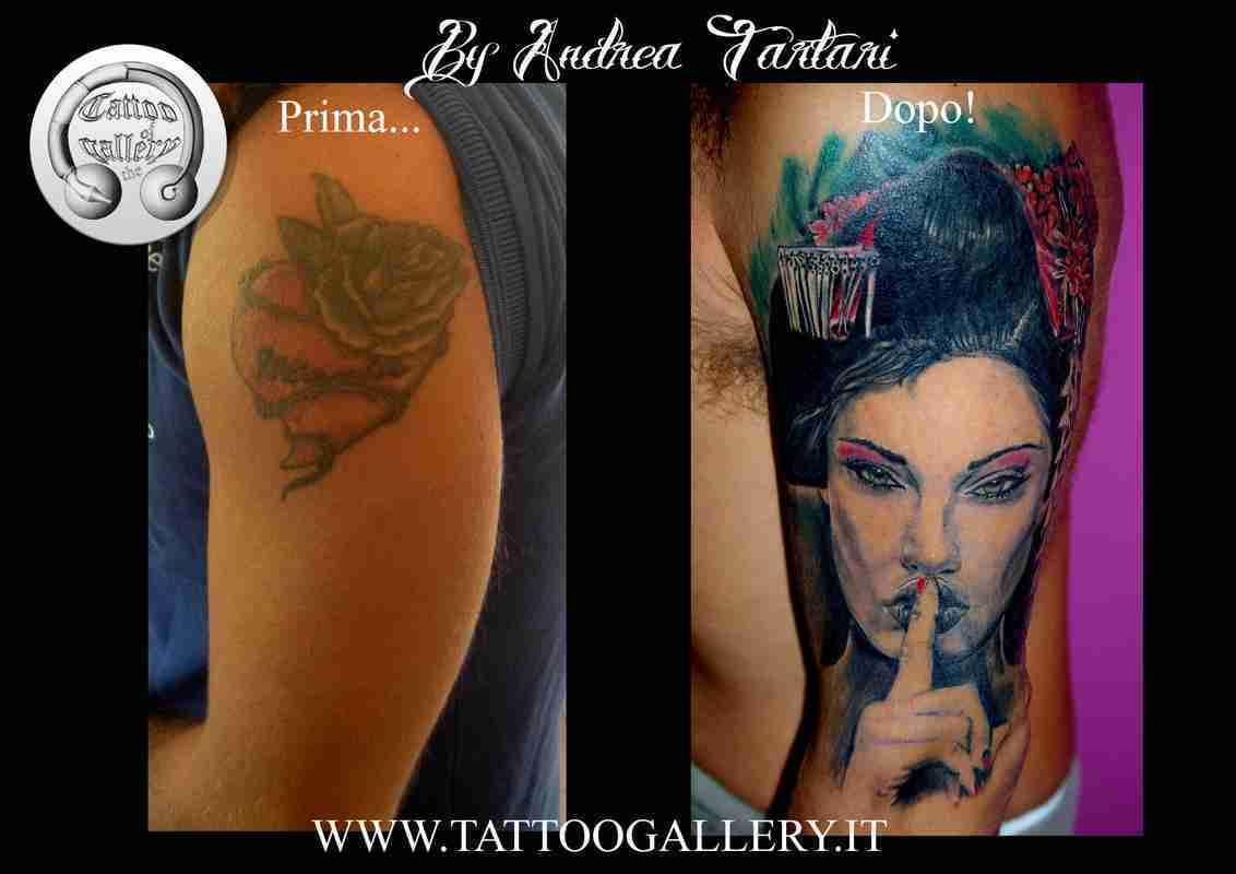 """alt=""""tatuaggi ritrattistici coverup geisha by andrea"""""""