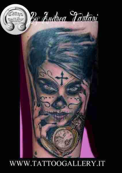 """alt=""""tatuaggi ritrattistici donna muerte by andrea"""""""