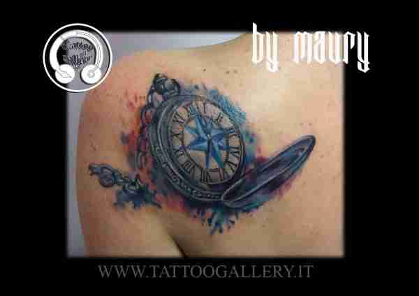 "alt=""watercolor tattoo orologio bussola"""