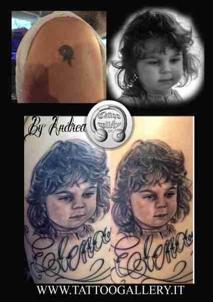 "alt=""tatuaggi ritrattistici bimba by andrea"""