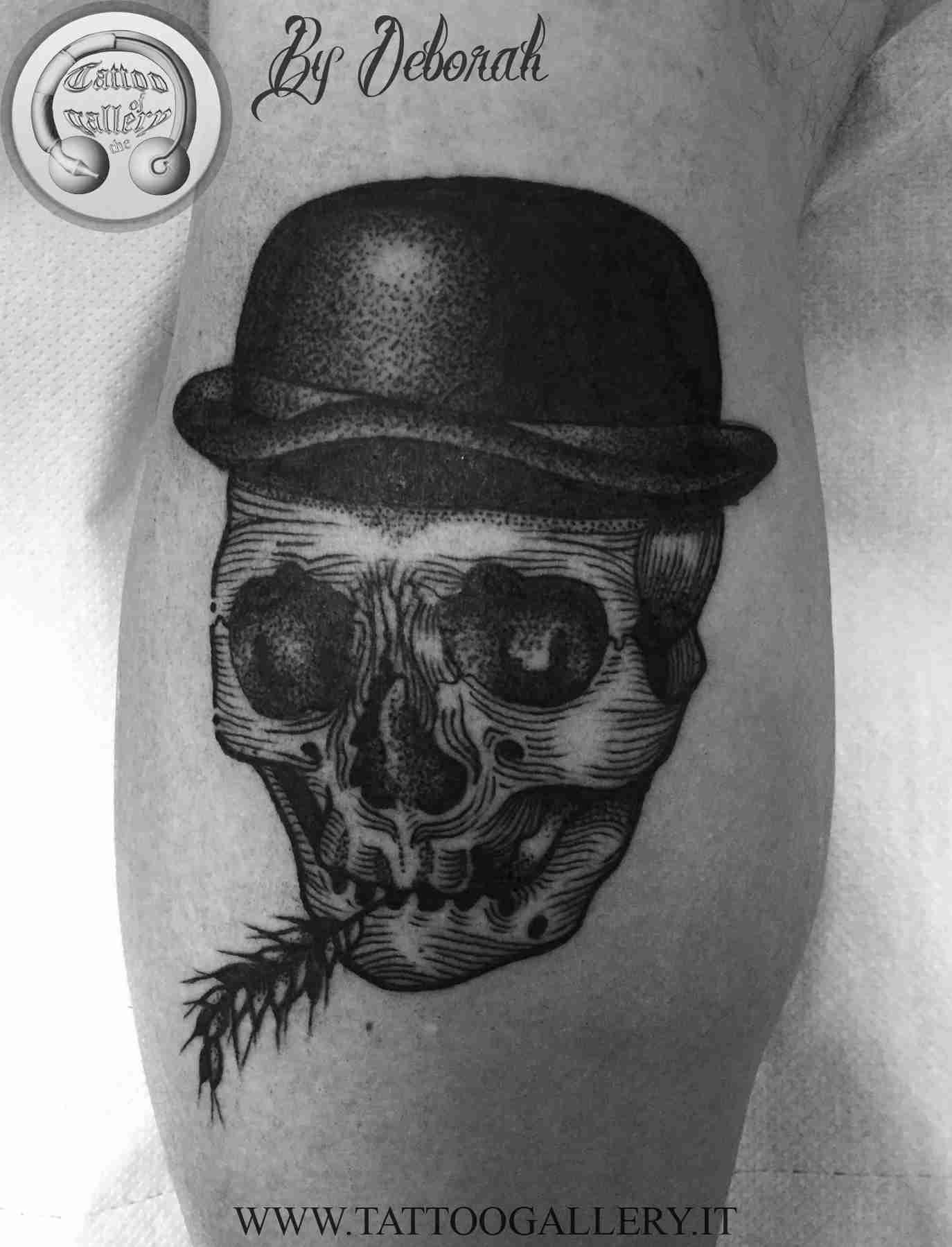 "alt=""blackwork skull by Deborah"""