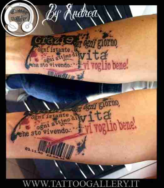 "alt="" tatuaggi realistici scritta trash polka"""