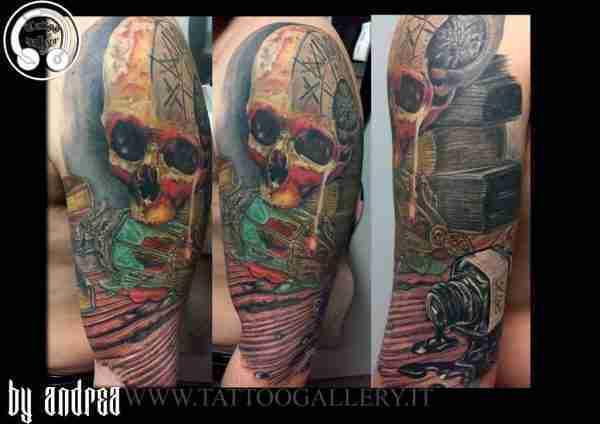 """alt=""""tatuaggi realistici tattoo teschio e calamaio by Andrea Tartari"""""""