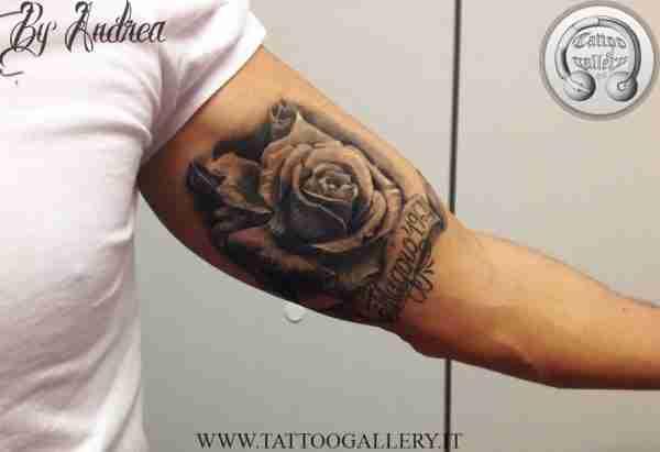 """alt=""""tatuaggi fiori realistici, rosa bianco e nero by andrea tartari"""