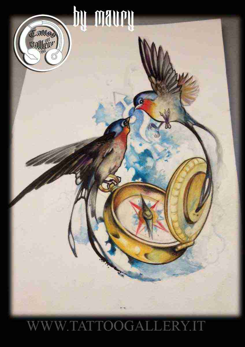 "alt=""new disegno tattoo rondini e bussola"""