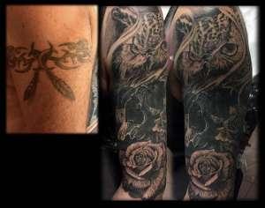 """alt""""tatuaggi realistici cover up Gufo """""""