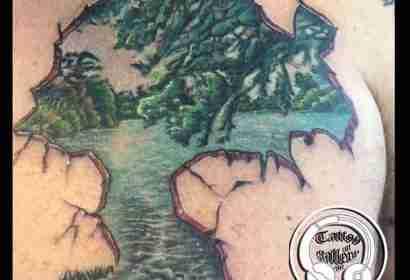 """alt""""=tatuaggi realistici paesaggio """""""