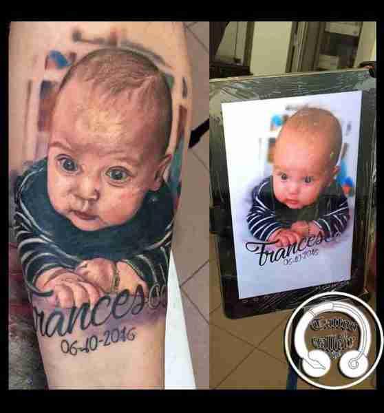 "alt=""tatuaggi ritratti bambino """