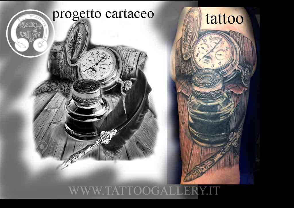 Top Progetto tattoo coverup orologio ,bussola, calamaio - tattoogallery.it CD47