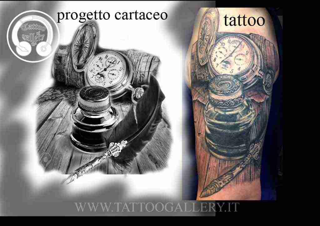 Progetto tattoo coverup orologio bussola calamaio for Bussola tattoo significato
