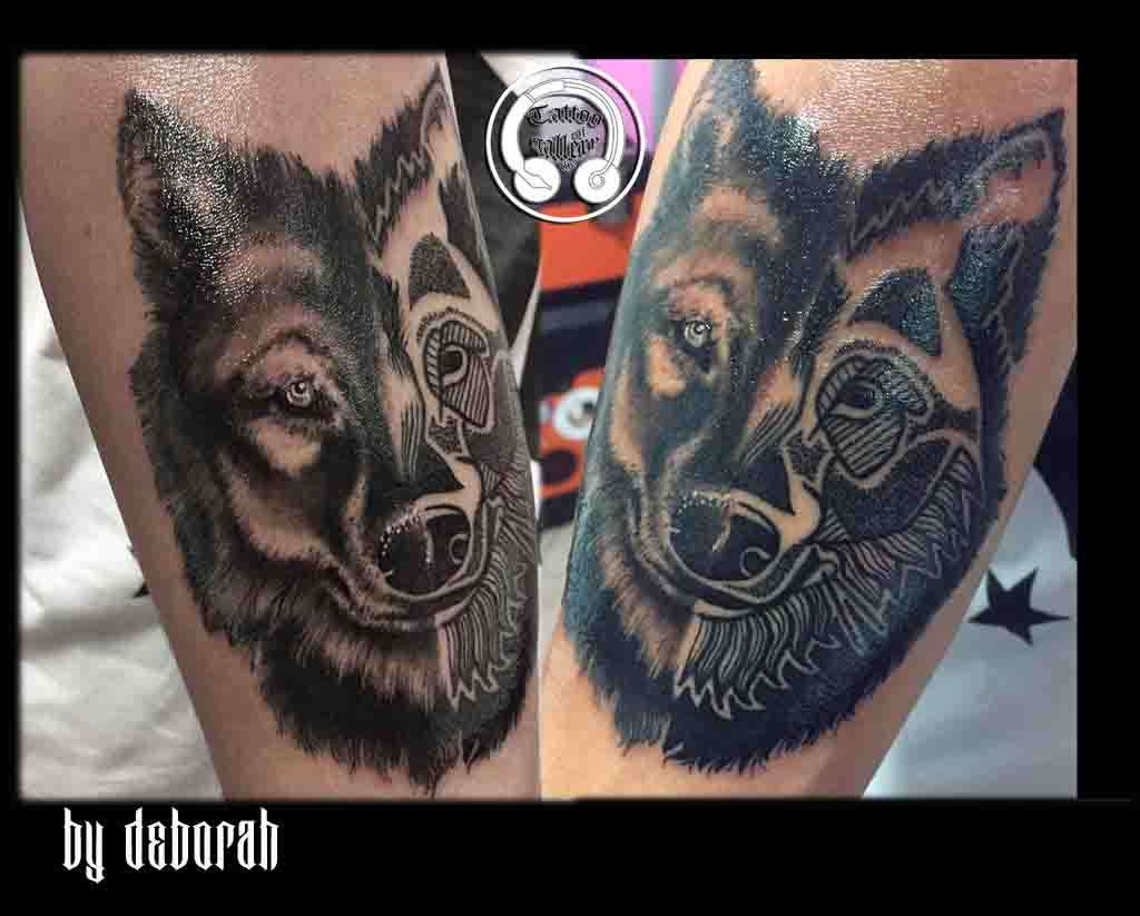 "alt=""black work tattoo lupo"""