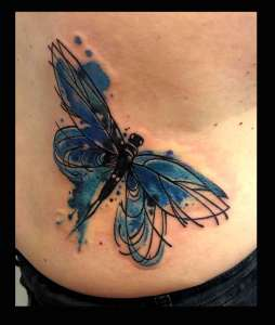 "alt=""tattoo watercolor blue dragonfly"""