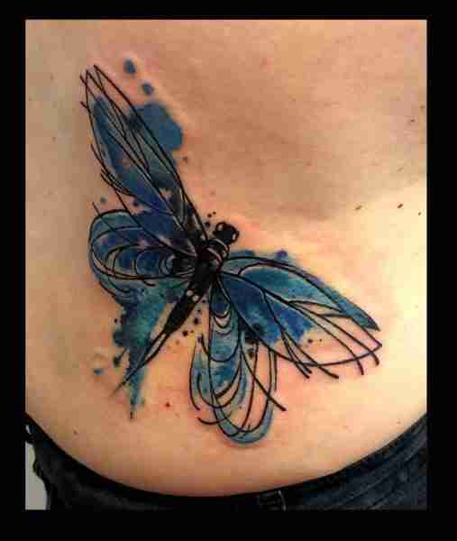 """alt=""""tattoo watercolor blue dragonfly"""""""