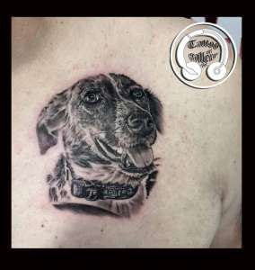 "alt=""tattoo animali realistici cagnolina"""