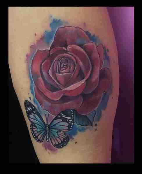 """alt=""""rosa rossa watercolor"""""""