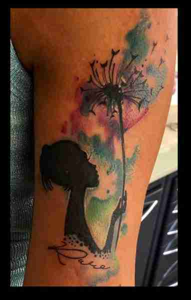 "alt=""tattoo watercolor soffione"""