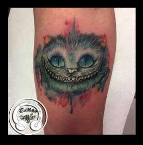 """alt=""""tatuaggi watercolor stregatto"""""""