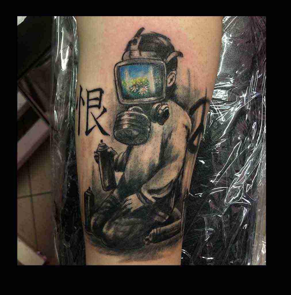 "alt=""tattoo watercolor Bansky"""