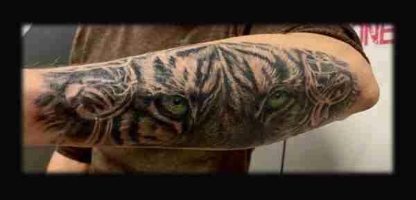 """alt=""""tattoo animali realistici occhi di tigre"""""""