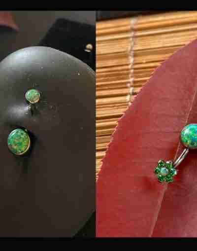 """alt=""""olive cabochon opal navel """""""