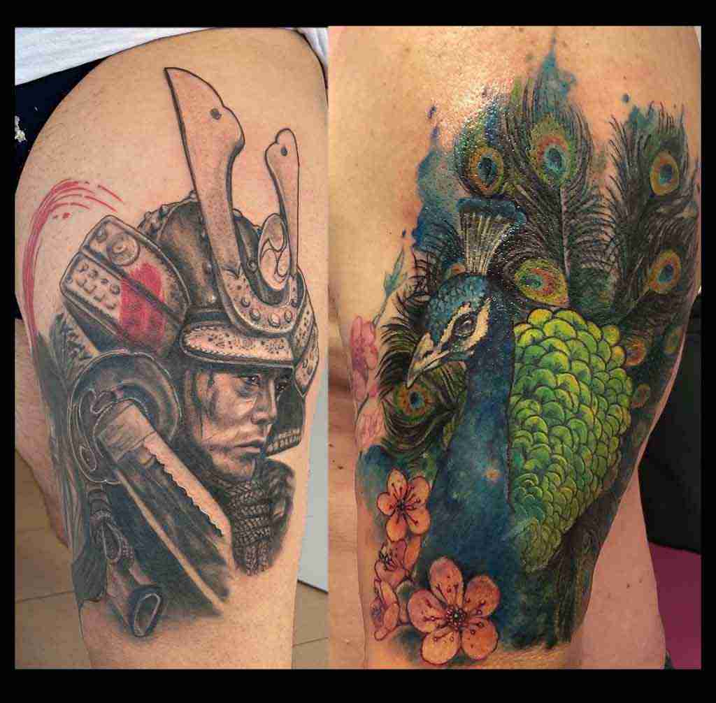 "alt="" tatuaggi realistici samurai e tattoo watercolor pavone """